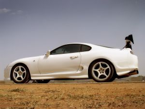 white sports car with special equipment