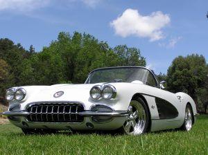classic white chevrolet corvette