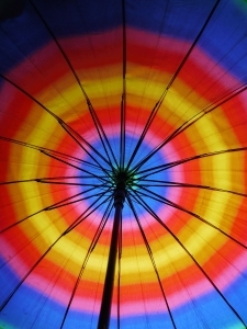 large rainbow colored umbrella