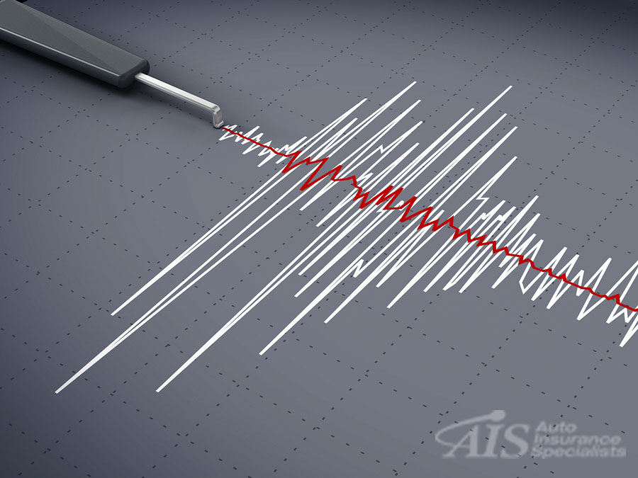 Seismic activity graph showing an earthquake moment. At AIS, you can get protected with Earthquake insurance through us.