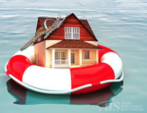 Home floating on a life preserver. Symbolizing a recovering housing economy, flood protection, home salvage , bailout, ect. You can add on flood coverage to your AIS homeowners insurance policy.