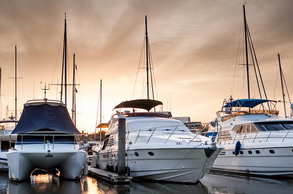 boats- 2 yachts, catamaran in marina at sunset_600x