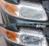 old car - before and after of car headlights