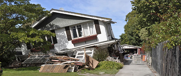 Earthquake Insurance - House damaged by earthquake