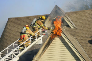 putting out roof fire