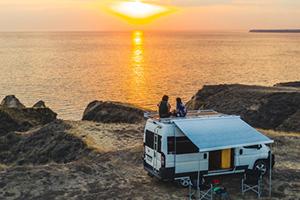 campervan overlooking beach