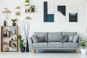 living room with shelf